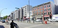 Bilder aus dem Hamburger Stadtteil Hoheluft West, Bezirk Hamburg Eimsbüttel. Historische Gründerzeitarchitektur steht neben modernen Wohnblocks an der Hoheluftchaussee.