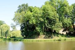 Bilder von der historischen Hansestadt Fürstenau im Landkreis Osnabrück - Bundesland Niedersachsen; Blick über den Burggraben zu der mit Bäumen und Sträuchern bewachsene Bastionsfundament des  Fürstenauer Schloss. Das Schloss Fürstenau  ist eine ehe