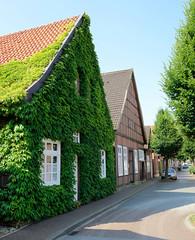 Bilder von der historischen Hansestadt Fürstenau im Landkreis Osnabrück - Bundesland Niedersachsen; alte Einzelhäuser / Fachwerkgebäude in der Schwedenstraße - teilw. mit Kletterpflanzen bewachsen.