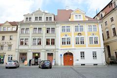Fotos von der Stadt Löbau in der sächsischen Oberlausitz; historische Wohn- und Geschäftshäuser am Altmarkt, ursprünglich erbaut um 1720.