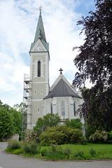 Fotos von der Stadt Löbau in der sächsischen Oberlausitz; katholische Pfarrkirche Kirche Maria Namen in der August Bebel Straße - Baustil der Neogotik, erbaut 1892 - Architekt  Gislenus Bethune.