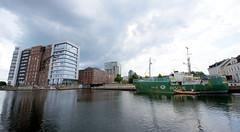 Das ehem. Rettungsschiff  Sea-Eye hat am Lotsenkanal im Hafen von Hamburg Harburg festgemacht; Harburger Hafen.