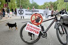 Swarming-Aktion der Extinction Rebellion Gruppe Hamburg Winterhude am Moorfuhrtweg; Fahrrad mit Schild Klimakrise stoppen - Transparent quer über die Straße.