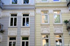 Architekturfotos aus dem Hamburger Stadtteil Eimsbüttel - Bezirk Eimsbüttel; Jugendstilfassade in der Rellinger Straße.