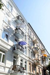 Architekturfotos aus dem Hamburger Stadtteil Eimsbüttel - Bezirk Eimsbüttel; Mehrfamilienhaus in der Grundstraße - errichet 1903 - Architekt Theodor Frieling.