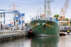 Das ehem. Rettungsschiff  Sea-Eye hat am Lotsenkanal im Hafen von Hamburg Harburg festgemacht;   Schiffsname und  rostiger Anker am Schiffsbug.
