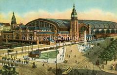 Historische Darstellungen vom Hamburger Hauptbahnhof im Stadtteil Sankt Georg; kolorierte Ansicht vom Bahnhofsgebäude am Glockengießer Wall.