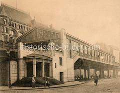 Altes Bild von der Hochbahn-Haltestelle Rödingsmarkt, Hamburger Stadtteil Altstadt. Der Bahnhof wurde in den Jahren 1910/11 nach Plänen von Raabe & Wöhlecke errichtet.