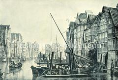 Historische Ansicht vom Alsterfleet - Blick von der  damaligen Scheelengangbrücke / jetzigen Adolphsbrücke auf das Fleet. Links Häuser am Neuen Wall, re. vom Alten Wall - im Hintergrund der Turm der St. Michaeliskirche. (ca. 1840)