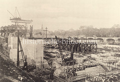 Historische Darstellungen vom Hamburger Hauptbahnhof im Stadtteil Sankt Georg; Blick auf die Baustelle des Bahnhofs.