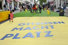 Ottensen macht Platz, Flanierquartier auf Zeit. Vom 1. September 2019 bis Ende Februar 2020 sind Teile der Ottenser Hauptstraße, der Bahrenfelder Straße, der großen Rainstraße und der Erzberger Straße zu fast autofreien Zone umgewandelt.