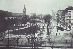 Historische Darstellungen vom Hamburger Hauptbahnhof im Stadtteil Sankt Georg. Blick in die Kirchenallee, links das Bahnhofsgebäude und dem Hintergrund re. die St. Georg Kirche.