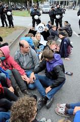 Straßenblockaden,  Sitzblockaden  an der Lombardsbrücke nach der Klimademo am 20.09.19 in der Hansestadt Hamburg.
