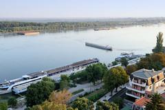 Blick auf die Donau und den Hafen in Russe - Pyce,  Bulgarien. Im Vordergrund  die Anlegestellen der Donauschifffahrt, Flusskreuzfahrten - ein Binnenschiff wendet auf dem Fluss.