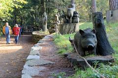Fotos vom Forst Klövensteen im Hamburger Stadtteil Rissen; aus Holz gescnitzte lebensgroße Wildtiere beim Eingang des Wildgeheges.