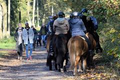 Fotos vom Forst Klövensteen im Hamburger Stadtteil Rissen; SpaziergängerInnen und ReiterInnen auf ihren Pferden beim Ausritt am Sandmoorweg.