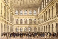 Bilder aus der Hamburger Innenstadt - Stadtteil Altstadt. Innenansicht der Börse mit Geschäftsleuten, die zumeist Zylinder tragen (1842).