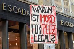 Demonstration gegen den Pelzhandel bei der Modekette ESCADA in der Hamburger Innenstadt. Protestplakat vor ESCADA: Warum ist Mord für Pelz legal?
