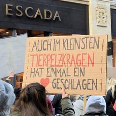 Demonstration gegen den Pelzhandel bei der Modekette ESCADA in der Hamburger Innenstadt. Selbstgemaltes Protesplakat: Auch im kleinsten Tierpelzkragen hat einmal ein Herz geschlagen.