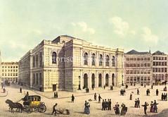 Bilder aus der Hamburger Innenstadt - Stadtteil Altstadt. Blick auf die neugebaute Börse am Adolphsplatz - Passanten stehen oder gehen über das Kopfsteinpflaster, eine Pferdekdroschke mit Kutscher fährt durch die Stadt.