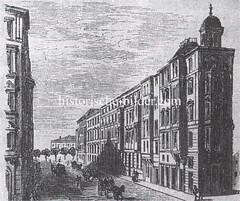 Bilder aus der Hamburger Innenstadt - Stadtteil Neustadt. Historische Ansicht der ab 1880 entstandenen Hamburger Colonnaden - im Hintergrund der Stephansplatz.