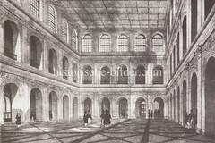 ilder aus der Hamburger Innenstadt - Stadtteil Altstadt. Innenansicht der Börse mit Geschäftsleuten, die zumeist Zylinder tragen (1842).
