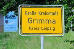 Ortsschild, Ortsgrenze der Großen Kreisstadt Grimma, Kreis Leipzig