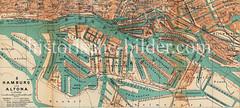 Historische Karte vom Hamburger Hafen und der Hafenkante ca. 1910.
