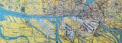 Historische Karte vom Hamburger Hafen (ca. 1925) - lks. die neu entstehenden Hafenbecken in Waltershof und die Süderelbe in Hamburg Finkenwerder.