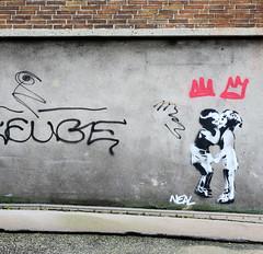 Bilder aus der Hamburger Altstadt; Graffiti an einer Hauswand.
