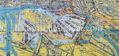 Historische Karte vom Hamburger Hafen,  1925 - Blick auf die einzelnen Hafenbecken und die Hamburger Speicherstadt.
