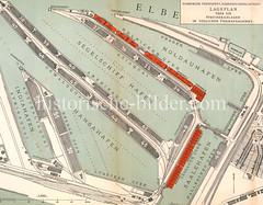 Lageplan über die Speicheranlagen im südlichen Freihafengebiet - Blick auf den Moldauhafen, Saalehafen, Segelschiffhafen, Hansahafen und Indiahafen mit den entsprechenden Kaianlagen und Speichergebäuden.