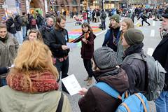 Knapp 300 Klimaschutzaktivist*innen der Bewegung Extinction Rebellion, XR blockierten am 14.02.2020  den Verkehr am Hamburger Jungfernstieg.