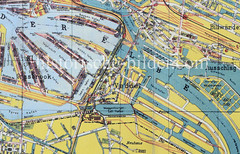Historische Karte vom Hamburger Hafen (ca. 1925) - Blick auf die Hafenbecken vom Kleinen Grasbrook, Rothenburgsort und der Veddel.