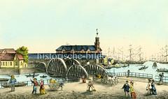 Colorierte Ansicht der Hamburger Kehrwiederbrücke und Kaiserspeicher.