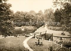 Historische Fotografie von der Mellenburger Alsterschleuse.