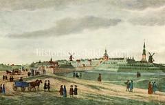 Historische Ansicht auf das Millerntor in St. Pauli, ca. 1700.
