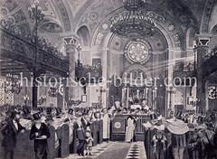 Laubhüttenfest in der Hamburger Synagoge Kohlhöfen, ca. 1895.
