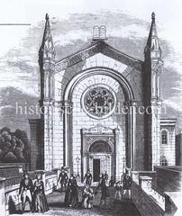 Historische Ansicht der Fassade Synagoge / Neuer Tempel Poolstraße in der Hamburger Neustadt.