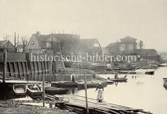 Historische Ansicht vom Stadtdeich in Hamburg Hammerbrook, Oberhafen.