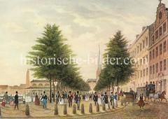 Historische Ansicht vom Jungfernstieg in der Hansestadt Hamburg.