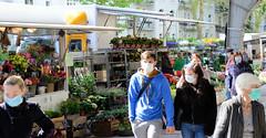 Wochenmarkt, Isemarkt in der Isestraße im Hamburger Stadtteil Harvestehude.