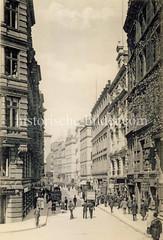 Historische Aufnahme der Straße Brodschrangen in der Hamburger Altstadt, ca. 1902.