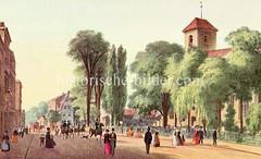 Historische Straßenansicht aus Ottensen - Blick auf die Christianskirche, Grab Klopstocks.