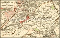 Alte Karte vom Hafengebiet in Hamburg, Altona und Wilhelmsburg.