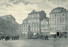 Alte Fotografie vom Lessingdenkmal auf dem Hamburger Gänsemarkt