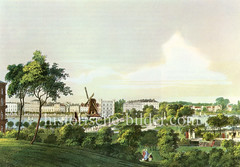 Blick über die Lombardsbrücke zur Hamburger Neustadt - im Bildzentrum die Esplanade und die Windmühle, die 1865 wg. des Baus der Eisenbahn abgebrochen wurde (ca. 1856)
