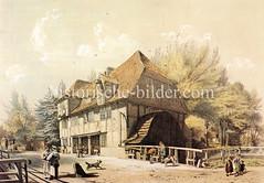 Historische Ansicht der Kuhmühle in Hamburg Hohenfelde, ca. 1850 - das Gebäude an der Kuhmühlenbrücke wurde 1879 abgerissen.