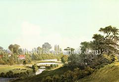 Lauf der Oberalster bei Poppenbüttel - historische Ansicht, ca. 1856.