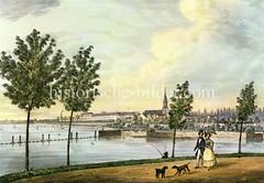 Historische Ansicht von der Hamburger Aussenalster mit Blick nach Sankt Georg und zur Dreieinigkeitskirche, ca. 1840.